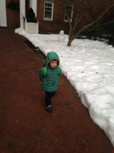 Little LRC walking to preschool last winter
